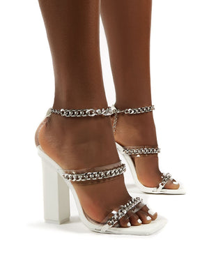 Statement White Chain Ankle Strap Square Toe Block Heel