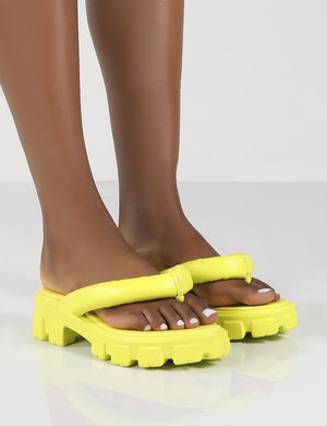 State Yellow Chunky Sole Thong Strap Sandals