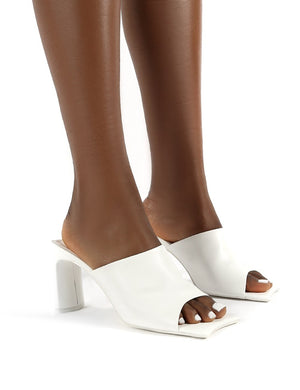 Vice White Pu Wide Fit Square Toe Detail Heeled Mules