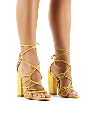 Camila Yellow Faux Suede Lace Up Block Heels