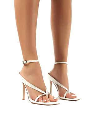 Emilia White Croc Strappy Stiletto High Heels