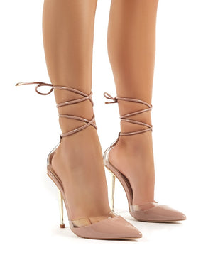 Envee Nude Lace Up Perspex Gold Stiletto High Heels
