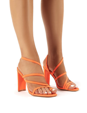 Faze Strappy Heels in Neon Orange