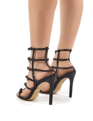 Markle Black PU Stappy Buckle Detail High Heels