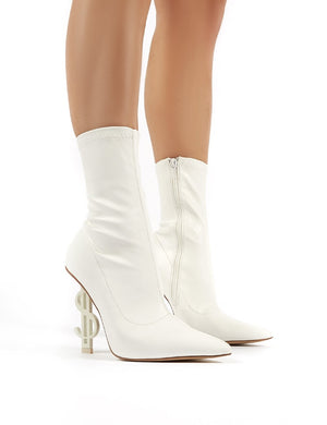Money Maker White PU Statement Heel Sock Fit Ankle Boots