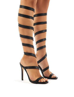 Naia Black Spiral Wrap Around Stiletto High Heels