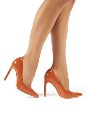 Sleek Tan Patent Court Heels