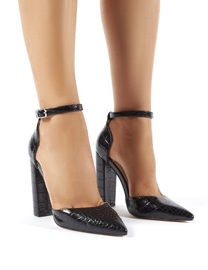 Sofia Wide Fit Black Croc Pointed Block Heels