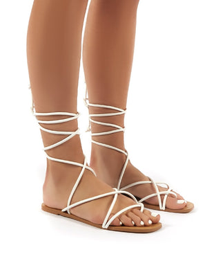 Sunset White Strappy Lace Up Flat Sandals