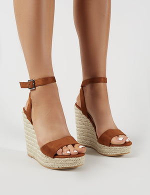 Sydney Espadrille Wedges in Tan Faux Suede