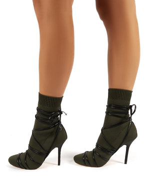 Tamana Khaki Knitted Heeled Sock Fit Ankle Boots