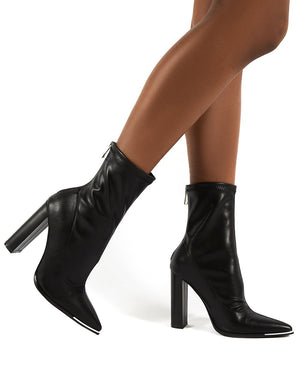 Affection Black PU Block Heeled Ankle Boots