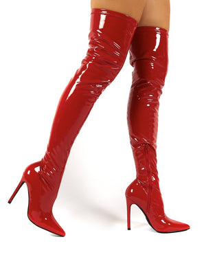 Confidence Wide Fit Red Patent Stiletto Heeled Over The Knee PU Boot
