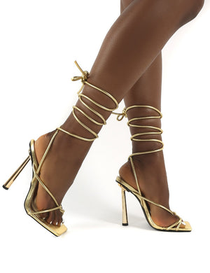 Lacey Gold PU Square Toe Strappy Lace Up Heels