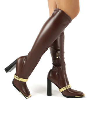 Manic Chocolate Removable Chain Detail Knee High Heeled Boots