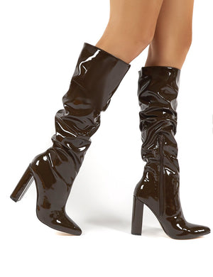 Yours Chocolate Patent Heeled Knee High Block Boots