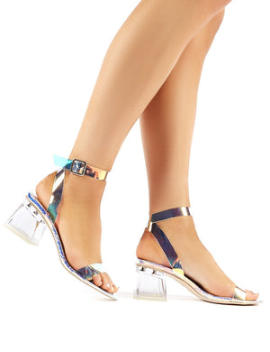Afternoon Iridescent Perspex Block Mid Heels