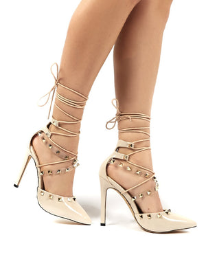 Gosh Nude Patent Lace Up Stud Detail High Heels
