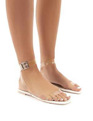 Hailee White Perspex  Flat Sandals