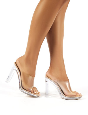 Honey Nude Faux Suede Perspex Block Heeled Mules