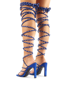 Losin' It Blue Extreme Lace Up Set Back High Heels