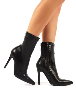 Must Black PU Sock Fit Stiletto Heeled Ankle Boots