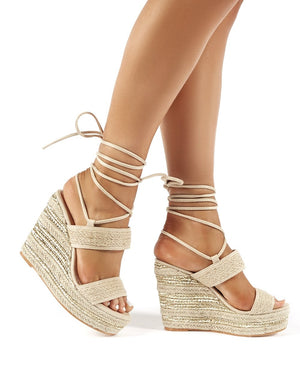 Sheena Nude Lace Up Espadrille Wedge Heels