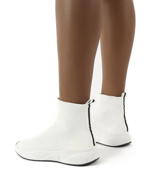Pursue White Knit Sock Fit Trainers