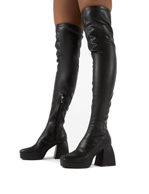 Chrome Black Patent Chunky Heel Over The Knee Boots