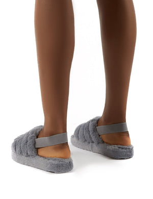 Dreamtime Grey Fluffy Strap Back Slippers