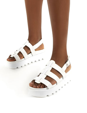 Coco White PU Triple Strap Platform Sandals