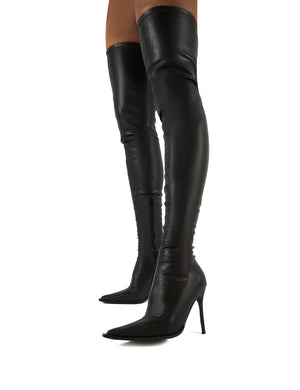 Reaction Black Pu Stiletto Heeled Over The Knee Boots
