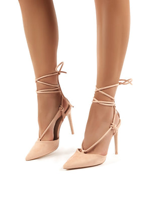 Bardot Nude Strappy Lace Up High Heel