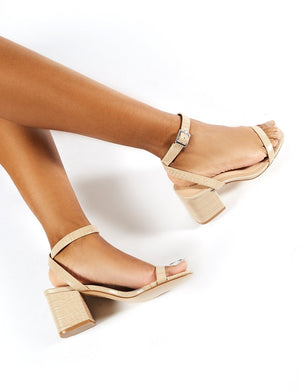 Celine Block Heel Barely Theres in Nude Croc