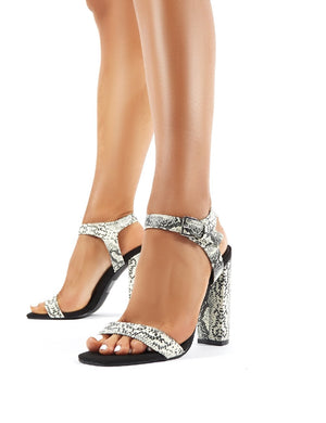 Meteor Glow in the Dark Snakeskin Block Heeled Barely Theres