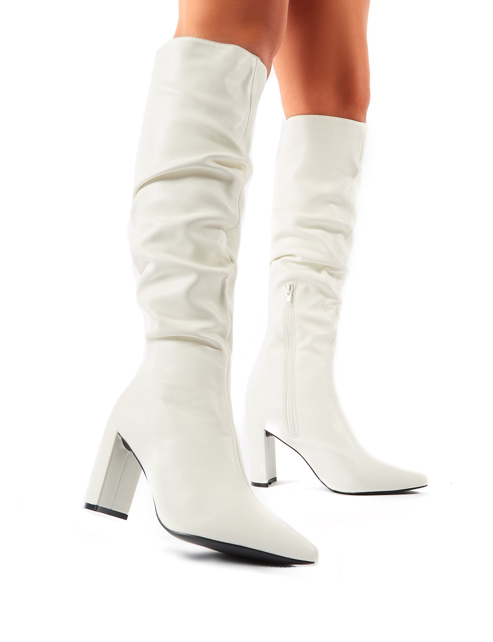 Mine Knee High Boots in White | Public