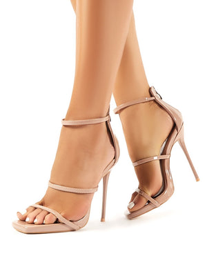 Paris Nude Patent Strappy Stiletto Heels