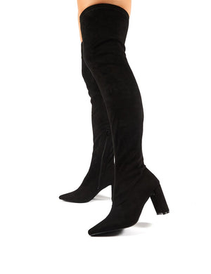 Scorch Black Faux Suede Over the Knee Heeled Boots
