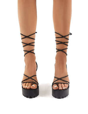 Spaghetti Black Lace Up Cleated Platform Block High Heels