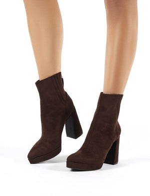 Tegan Brown Faux Suede Flare Heeled Ankle Boots