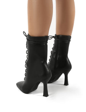 Bianco Black Pu Lace Up Heeled Ankle Boots