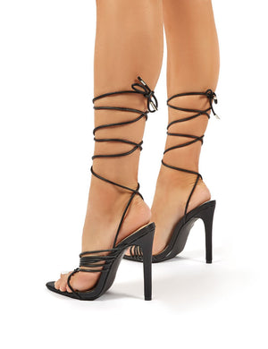 Controversial Black Strappy Lace Up High Heels