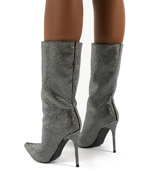 Hustler Black Diamante Detail Knee High Stiletto Heeled Boots