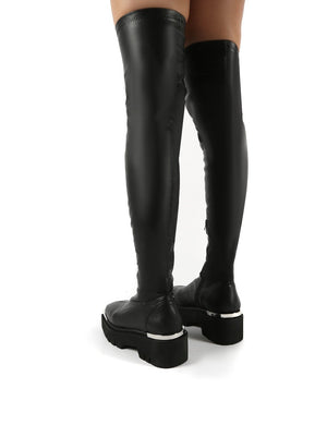 Machine Black Metal Detail Chunky Sole Knee High Boots