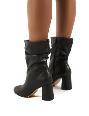 Marshmallow Black PU Wide fit Heeled Ankle Boots
