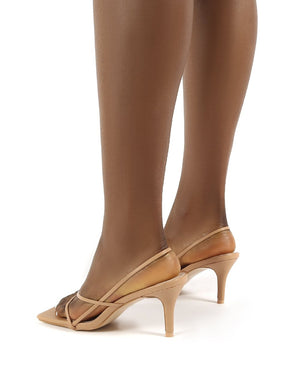 Mika Nude Pu Wide Fit Square Toe Strappy Mid Heels