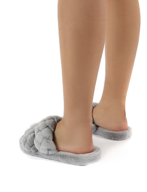 Minky Grey Fluffy Double Strap Slippers