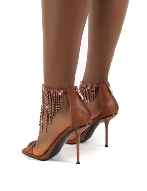 Redemption Tan Diamante Tassel Ankle Square Toe Stiletto Heels
