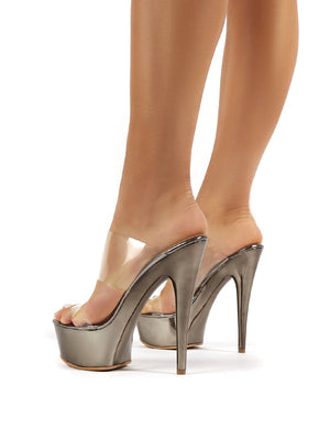 Temptation Pewter Platform Stiletto Perspex Heeled Mules