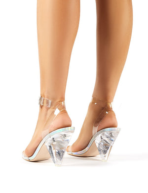 Verity Iridescent Cone Heeled Barely Theres